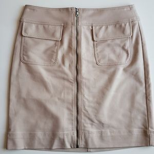 Ann Taylor Front Zip Beige Mini Skirt | 2